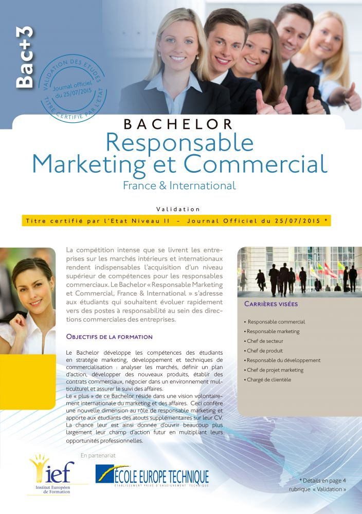 Programme Bac+3 niveau Licence Professionnelle Marketing Commerce - IEF Strasbourg