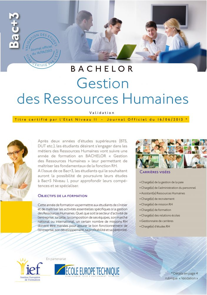 Programme Bac+3 niveau Licence Professionnelle Ressources Humaines - IEF Strasbourg